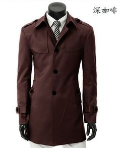 Men New Style Casual Long Sleeve Single-Breasted Coffee Cotton Coat M/L/XL/XXL/XXXL@S34c