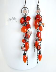 Sale Orange Carnelian Long Earrings Oxidized Silver by Kande, $90.00