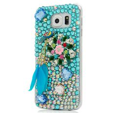 Galaxy S6 Edge, S6, S5 - Aqua Parrot or Preening Peacock Emerald Cases