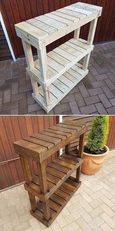 Wooden Pallet Projects Compactly sized pallet tables - It's time to transform home with these stunningly amazing ideas of pallet furniture, 51 creative ideas that can be used for the vast variety of uses in the home. Pallet Furniture Designs, Wooden Pallet Projects, Wooden Pallet Furniture, Wooden Pallets, Furniture Projects, Rustic Furniture, Diy Furniture, Pallet Sofa, Garden Furniture
