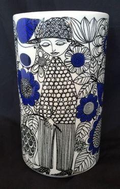 "Arabia Finland Vase Pastoraali 6"" Esteri Tomula Mid Century 1960s Blue Black #ArabiaofFinland"