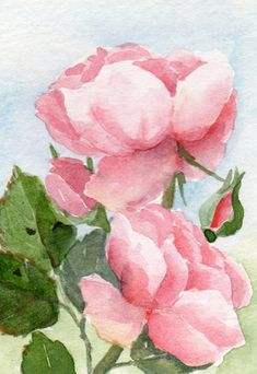 watercolor painting  floral art flowers original by TheRedBerry
