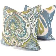 Lime Green and Blue Ikat Pillow Cover  18x18 20x20 or by PopOColor, $50.00