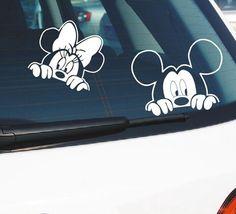Mickey Mouse etiqueta engomada del coche de algodón de Anime del vinilo del coche Pegatinas y calcomanías para todos los coches Minnie y Mickey Pegatinas accesorios del coche