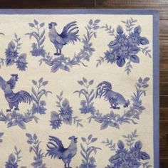 Perfect for under french country kitchen breakfast table -- it does have roosters Country Design, Border Design, Wool Area Rugs, Rooster Rugs, Classic Pattern, Indoor Decor, Country Rugs, Luxury Home Decor, Cool Rugs