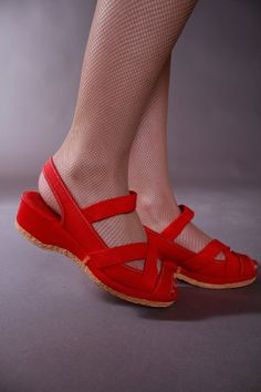 Vintage 1950s Wedges Sporty Red Canvas US Kedettes by FabGabs