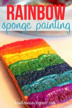 Rainbow sponge painting is super cool!