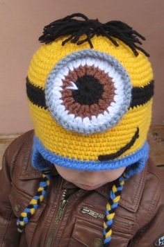 Minion hat,crochet minion hat,beanie babies,halloween costume,toddler boy hats,two eyes minion hat,one eyed minion hat,For12-24,24-36 months