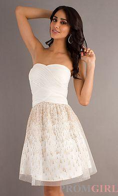 Wedding dinner rehearsal dress? Short Strapless Dress at PromGirl.com
