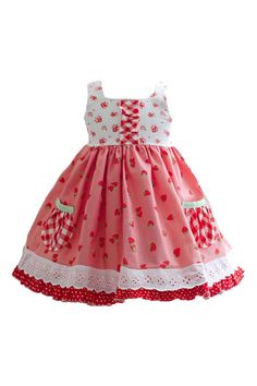 Welcome to summer fun with this lovely handmade strawberry girl dress. A combination of favorite fabrics including our red strawberry print, gingham, and polka dots. The classic bodice buttons in the Red Gingham, Gingham Dress, Little Girl Fashion, Kids Fashion, Simple Dresses, Cute Dresses, Little Girl Dresses, Girls Dresses, Summer Dresses