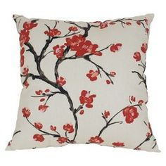 "Flowering Branch Rectangle Pillow - Beige/Red (11.5x18.5"")"