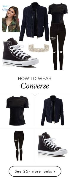 """Zendaya"" by simina650 on Polyvore featuring LE3NO, Topshop, Converse and Alexis Bittar"