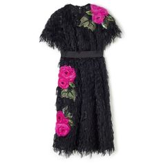 Black Fringed Appliqué Rose Dress - Shop Online at Style.com ❤ liked on Polyvore featuring dresses