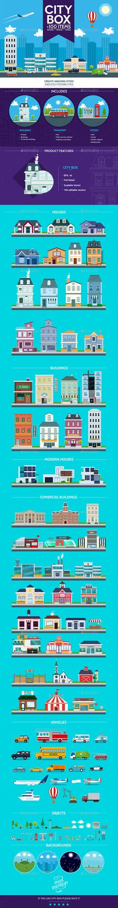 City Box is a set of city and building vectors, it includes more than fifty diferent buildings, twenty diferent vehicules, six backgrounds, and many objects wich you can use to set up your own illustrations for web, print, icons and much more. • Click here to download ! http://graphicriver.net/item/city-box/12494442?s_rank=2&ref=pxcr