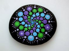 Boho chic decor-Hippie dot art-mandala par RockArtiste sur Etsy