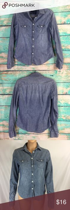 American Eagle Long Sleeve Button Down Top American Eagle Outfitters Long Sleeve Button Down Top in Denim Blue. Size S. Pre-loved in perfect condition. American Eagle Outfitters Tops Button Down Shirts