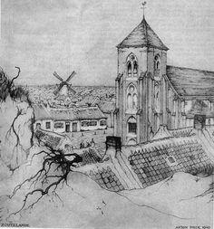 De kerk van Zoutelande door Anton Pieck.
