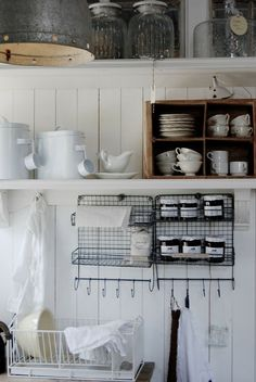 Open shelving and wire storage