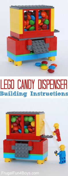 DIY Lego Candy Dispenser -- A ton of DIY super easy kids crafts and activities for boys and girls! Quick, cheap and fun projects for toddlers all the way to teens! Listotic.com #artsandcraftsforboys