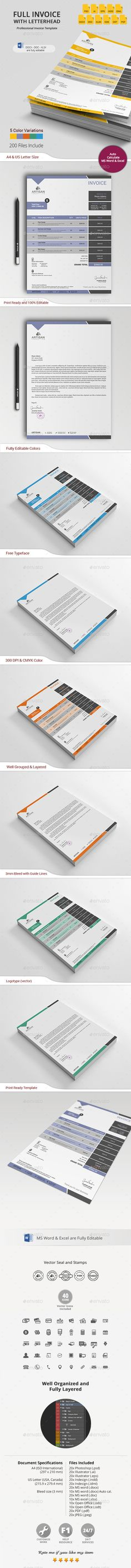 #Invoice with #Letterhead - #Proposals & Invoices #Stationery Download here: https://graphicriver.net/item/invoice-with-letterhead/10782776?ref=alena994