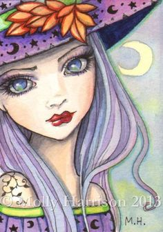 Purple Witch Fantasy Art by Molly Harrison Art Journal Inspiration, Painting Inspiration, Illustration Art, Illustrations, Drawn Art, Witch Art, Fairy Art, Halloween Art, Art Portfolio
