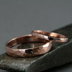 10K Gold Wedding SetPerfect Hammered BandsRose by RevolutionBA