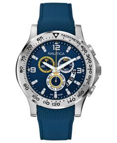 Nautica Watch, Men's Chronograph Navy Textured Silicone Strap 46mm N19602G - Watches - Jewelry & Watches - Macy's