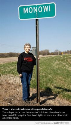 Forever Alone in Nebraska - Woman living in Monowi in Nebraska is the only person living in that town. She acts as the Mayor of this town. She raises taxes from herself to keep the four street lights on and a few other basic amenities going.