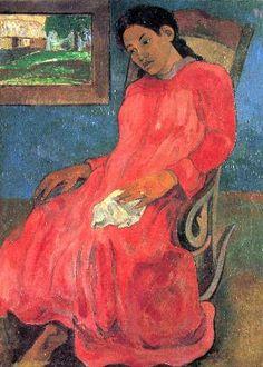Gauguin, Woman in Red Dress ۞۞۞۞۞۞۞۞۞۞۞۞۞۞ Gaby-Féerie : ses bijoux à thèmes ➜ http://www.alittlemarket.com/boutique/gaby_feerie-132444.html ۞۞۞۞۞۞۞۞۞۞۞۞۞۞