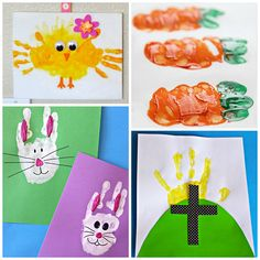 Here are some fun Easter handprint and fingerprint crafts for kids to make. You can find crosses, carrots, bunnies, chicks, and more!
