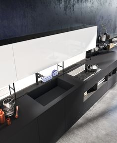 Lacquered fitted kitchen LINEA BANCO - @comprex