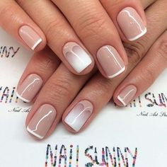 Beautiful delicate nails, Easy nails for girls, Gentle gradient nails, Gradient french manicure, Gradient manicure with gel polish, Ideas of winter nails, ring finger nails, Simple French