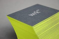 Business card. Cool texture with a pop of neon on the sides.