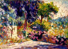 """HENRI-EDMOND CROSS - """"La Terrasse fleurie"""" (c. 1905)  Huile sur toile (23 X 32)"""