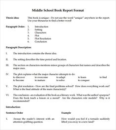 Book Report Template  Discovery Middle School Nonfiction Book