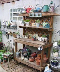 Very simple to make potting bench. Lattice and wood, either new left to age, or use salvaged for an instant vintage look.