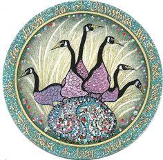 """Six Geese a Laying"" by P Buckley Moss. Porcelain Ornament. Issued 1998. Diameter: 3-5/16 ins.  $55. #canadagoosegallery #waynesvilleohio #pbuckleymoss #pbuckleymossart #gifts #porcelainornaments #porcelainchristmasornaments #christmasornaments #geese #egg #twelvedaysofchristmas"