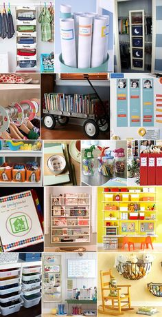 Lots of organizing ideas for everything from the kid's room to the kitchen to the garage.
