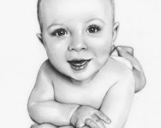 Custom Baby portrait Pencil Drawing from your photo Sketch Pencil Portrait Drawing, Portrait Sketches, Portrait Art, Pencil Drawings, Boy Sketch, Photo Sketch, Face Sketch, Laughing Baby, Pencil Drawing Tutorials