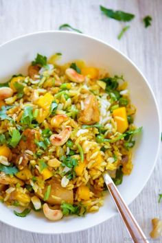 A delicious new way to enjoy summer mangoes! No, not just as dessert, I like to add'em to savory recipes like this Coconut Mango Chicken Curry!! You will be surprised how much flavor it adds to humble curry chicken dinner | http://chefdehome.com