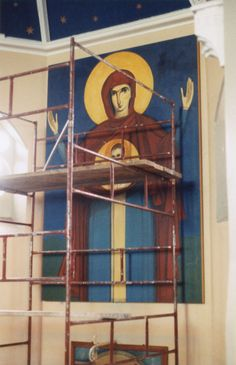 Installing of Our Lady of the Sign at the Holy Trinity Church in Bradford by Milos Rankovic oil on canvas, 12 x 8 ft). Bradford, Our Lady, Before Christmas, Holi, Oil On Canvas, Concept, Sign, Painting, Painting Art
