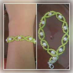 Green seed bead with white moti bracelet.  Price - Rs 100/-