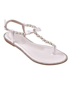 Loving this White Faux Pearl-Strap Sandal - Women on #zulily! #zulilyfinds