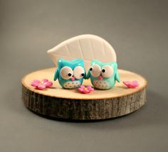 Reserved - Balance For Tree Slice Business Card Holder - Little Owls In Turquoise And Aqua - Miniature Polymer Clay Animal via Etsy