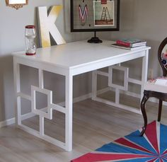 DIY Chic Desk Hack. This chic white desk started as an IKEA Ingo table… check out the amazing transformation over on Matsutake. (Added pieces of wood in between for a design)