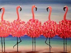 Five flamingos fla-mingling. Paint Flamingo Beach over a glass of wine! Set up your next Pinot's Palette. Summer Painting, Diy Painting, Painting & Drawing, Flamingo Painting, Flamingo Art, Flamingo Beach, Pink Flamingos, Paint And Drink, Cool Paintings