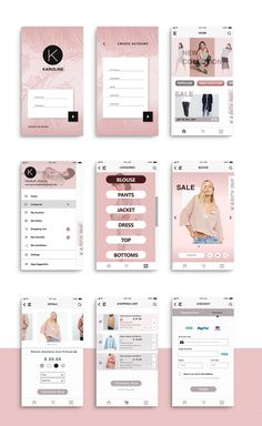 """UI Design for """"Karoline"""" shop app on Behance Best Picture For fashion App Design For Your Taste You are looking for something, and it is going to tell you exactly what you are looking for, and you did Android App Design, Iphone App Design, App Ui Design, Interface Design, User Interface, Android Apps, Design Design, Flat Design, App Design Inspiration"""