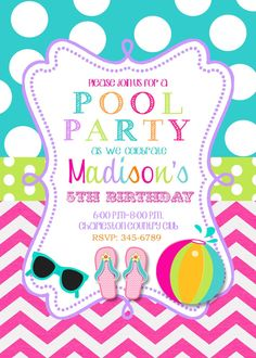 Pool Party Birthday Party invitations printable or digital file-swimming party on Etsy, $9.50