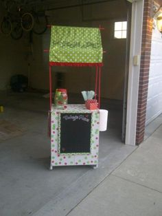 Lemonade Stand I made for my daughter with an old microwave cart.