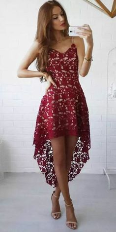 2017 Burgundy Lace Prom Dress,Spaghetti Straps Evening Dress,High -Low Party Dress